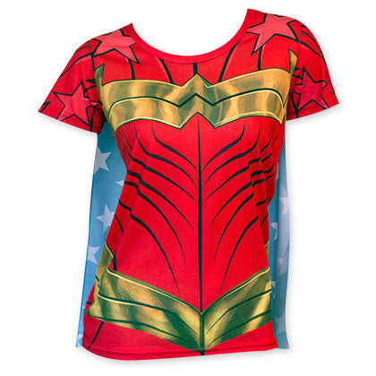 Wonder Woman Women's Sublimated Cape Costume Tee Shirt