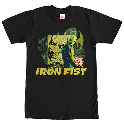 Marvel Teams Green Iron Black Mens T-Shirt