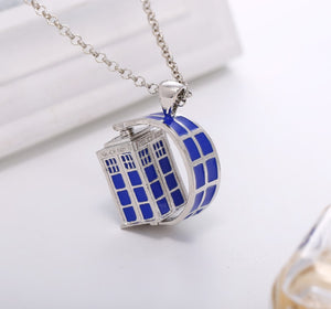Doctor Who Necklace Rotating Tardis Necklace.