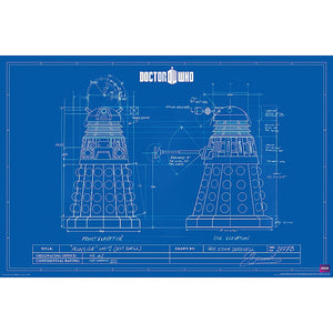 Doctor Who Poster Dalek Blue Print