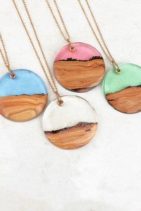 Wooden Resin Pendant Necklace