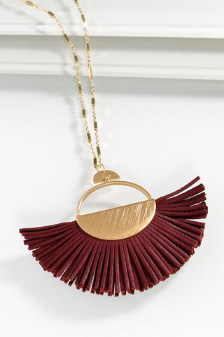 Leather Fan Pendant Necklace