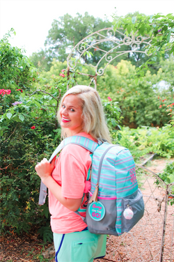 Jadelynn Brooke Mint Striped Backpack {With FREE Monogram}