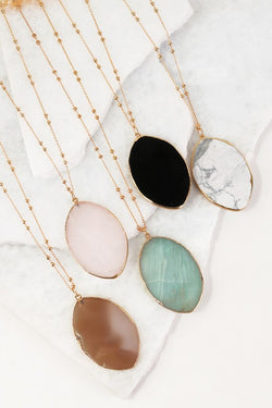 Oval Stone Necklace