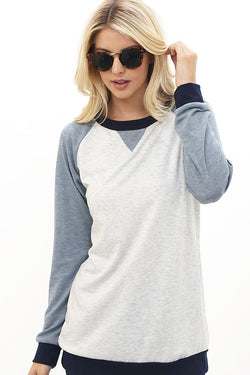 Color Block Longsleeved Slouchy Tee