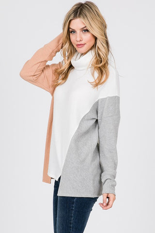 Two Toned Color Block Turtleneck