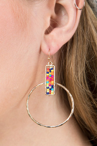 Multi Color Beaded Hoop Earring