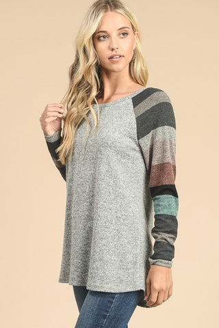 Striped Sleeve Sweater