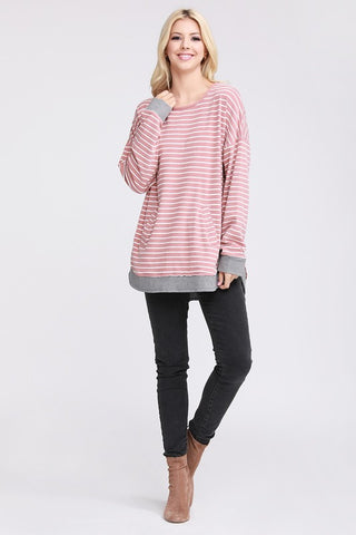 Striped Pocket Sweatshirt