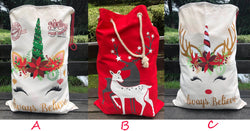 Unicorn and Reindeer Santa Sack