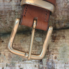 Leaf Leather Bellever Belt with Brass West End Buckle