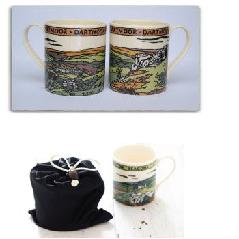 Dartmoor Mug and gift bag, HK White, Fine Bone China 11 fl oz