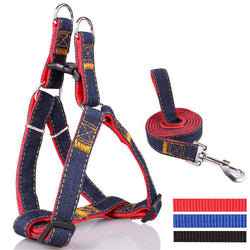 Colorful Jean Denim Harness and Leash