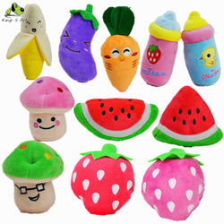 Squeaky Dog Toy - Fruits Vegetables And Feeding Bottle - 1 Pcs
