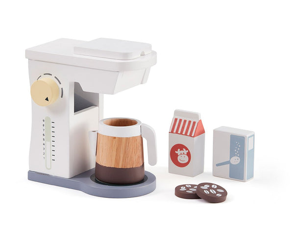 Kids Concept - Wooden Coffee Maker Set in white - scandibornusa