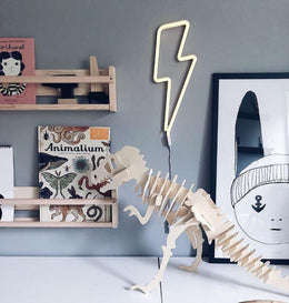 A Little Lovely Company Lightening Bolt Neon Wall Light in Yellow - EU Plug