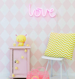A Little Lovely Company Love Neon Wall Light in Pink