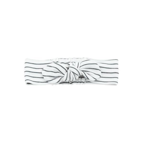 Baby Mori Headband Bow in Grey Stripe