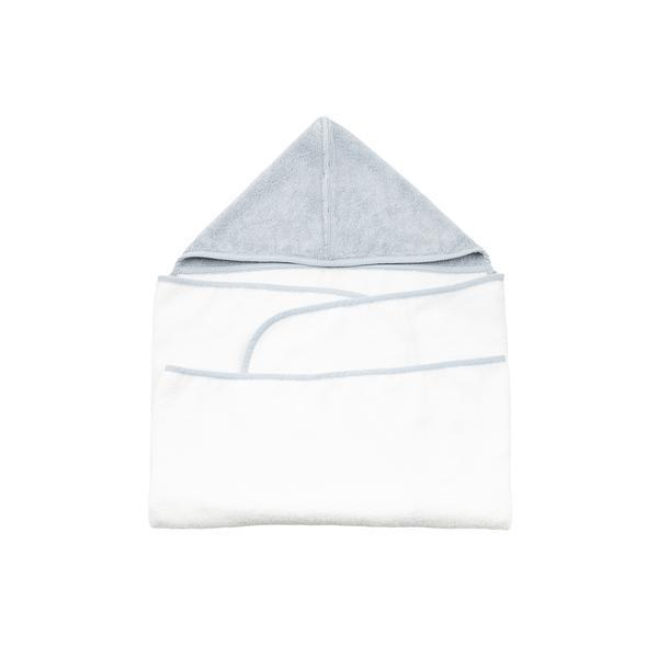 Baby Mori Hooded Towel in Grey / White