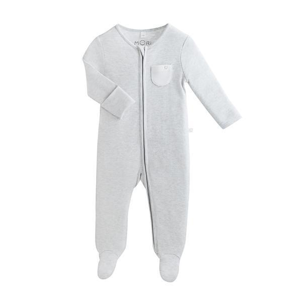 Baby Mori Organic Zip Up Sleepsuit in Grey