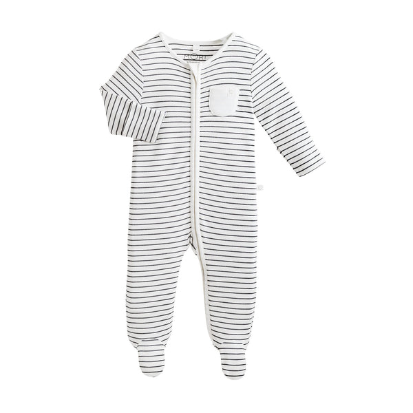 Baby Mori Organic Zip Up Sleepsuit in Grey Stripe