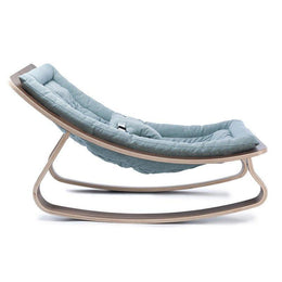 Charlie Crane Levo Baby Rocker in Walnut and Aruba Blue