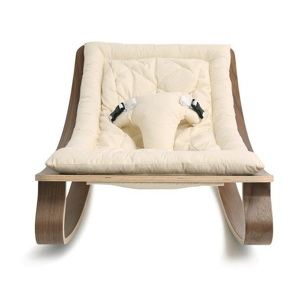 Charlie Crane Levo Baby Rocker in Walnut and Organic Off White Seat