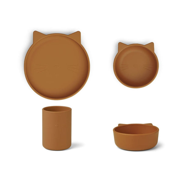 Liewood Cyrus Silicone Tableware in Cat Mustard (3pc)