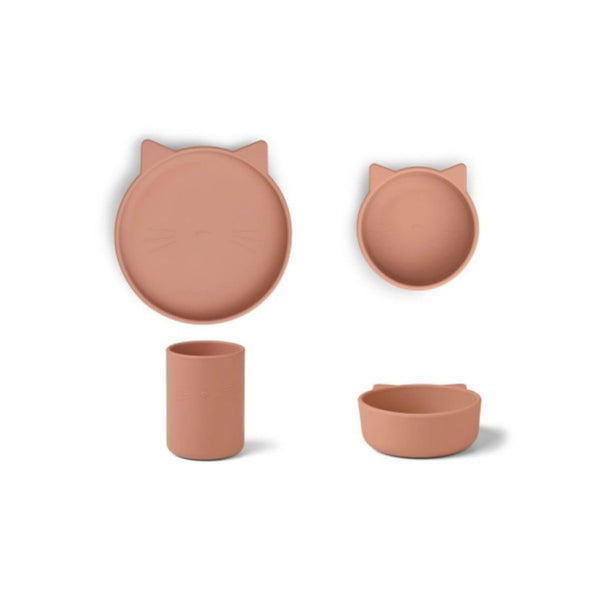 Liewood Cyrus Silicone Tableware in Cat Dark Rose (3pc)