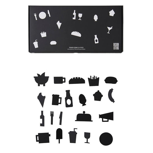 Design Letters Food Icons - Black