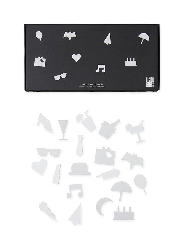 Design Letters Party Icons - White