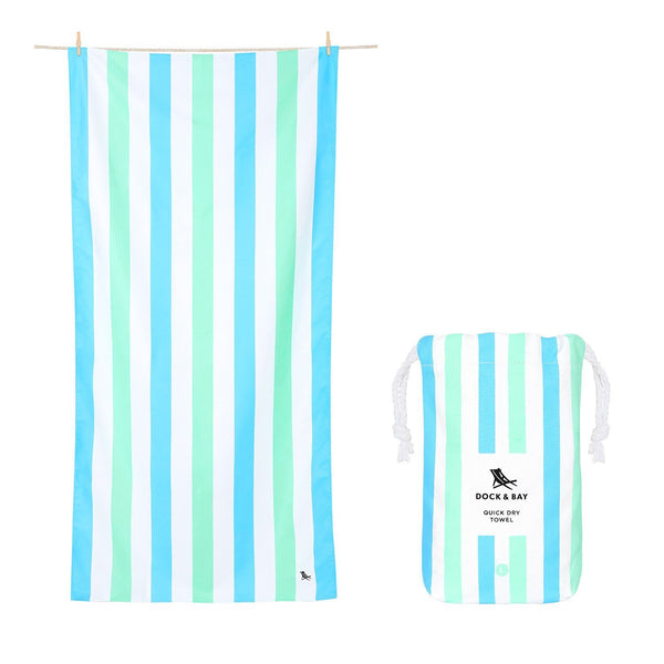 Dock & Bay Summer Towel in Blue/Green Stripe - Large