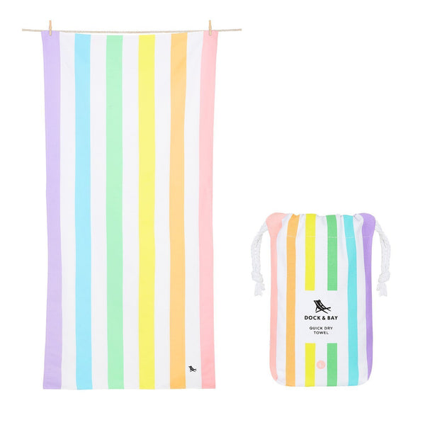 Dock & Bay Summer Towel in Light Rainbow Stripe - Large