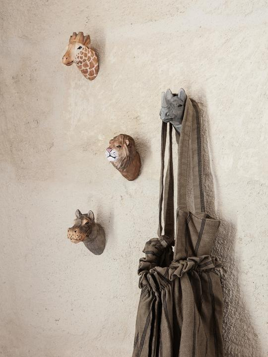 Ferm Living Carved Animal Wall Hooks - Rhino