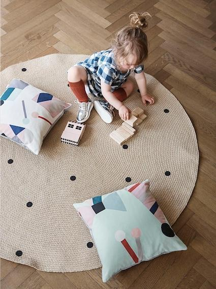 Ferm Living Jute Carpet Black Dots