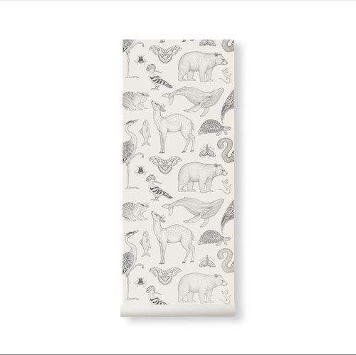 Ferm Living Katie Scott Wallpaper - Animals Off-White