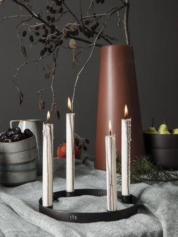 Ferm Living - Small Candle Holder Circle - Black Brass