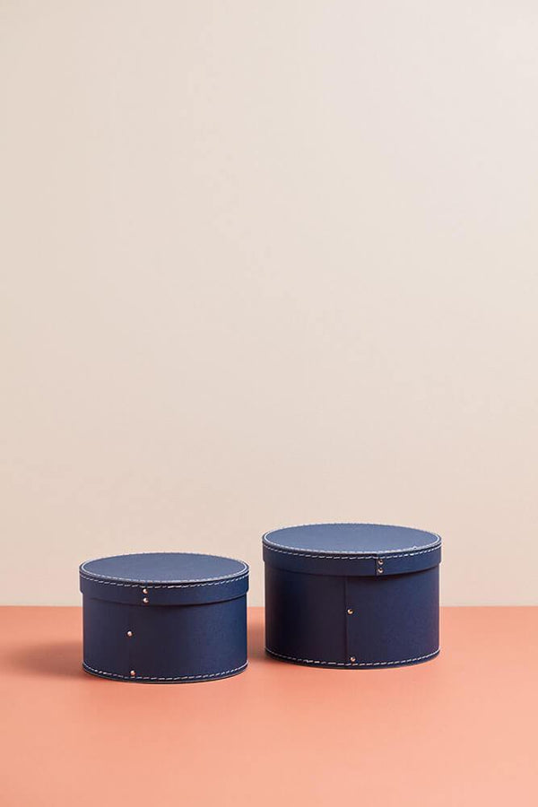 Kids Concept Round Storage Box in Blue (set of two)