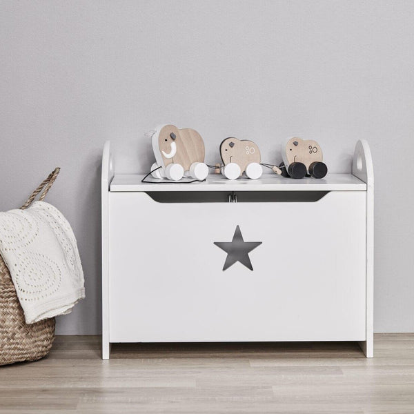 Kids Concept Toy Chest in White Star