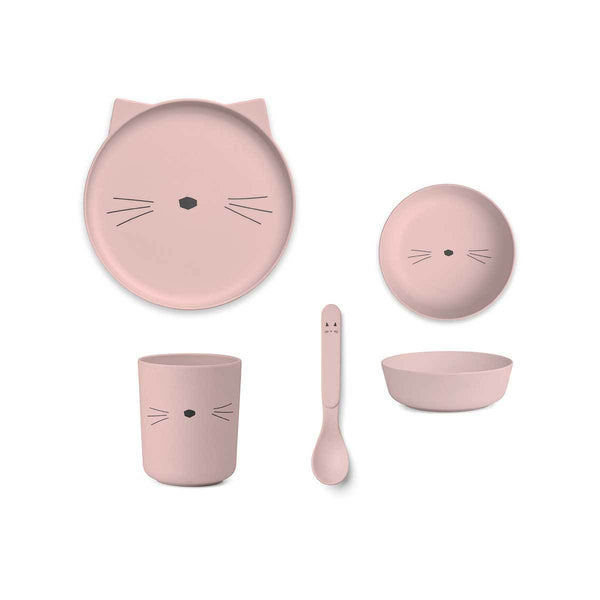 Liewood Bamboo Tableware giftset - Cat Blush