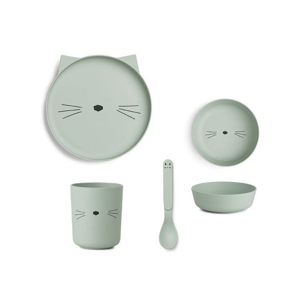 Liewood Bamboo Tableware giftset - Cat Dusty Mint