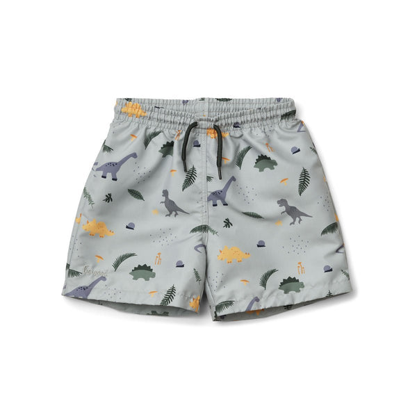 Liewood Duke Board Shorts in Dino Dove Blue Mix