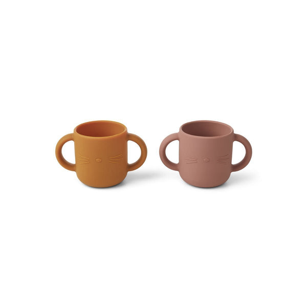Liewood Gene Silicon cup (2 Pack) - Cat Dark Rose