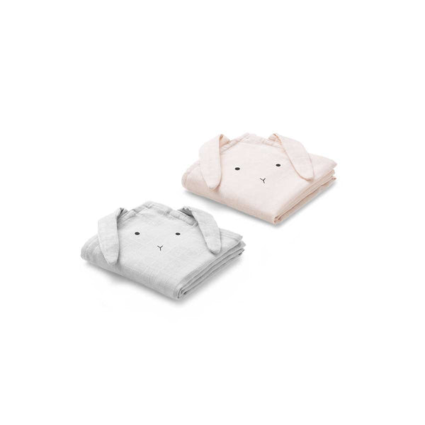 Liewood Hannah Rabbit muslin cloth in dumbo grey (2 pack)
