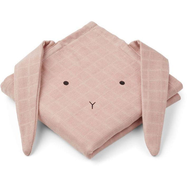 Liewood Hannah Rabbit muslin cloth in rose (2 pack)