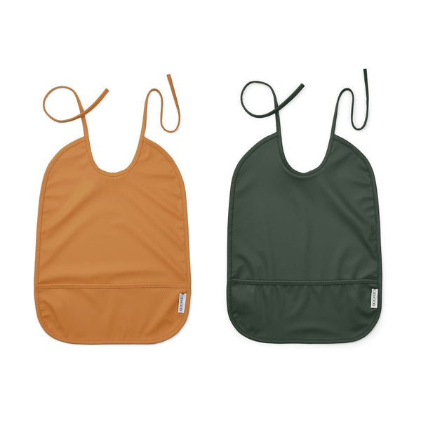 Liewood Lai Bib - 2 Pack Mustard/Hunter Green
