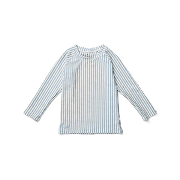 Liewood Noah Swim Tee Seersucker Stripe Sea Blue/White