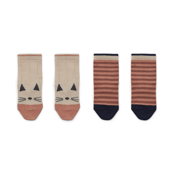Liewood Silas Socks in Cat / Stripe Coral (2 pack)
