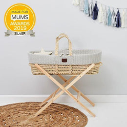 Little Green Sheep Moses Basket WITH stand BUNDLE - Dove Grey