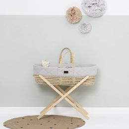 Little Green Sheep - Natural Quilted Moses Basket with Mattress in Dove